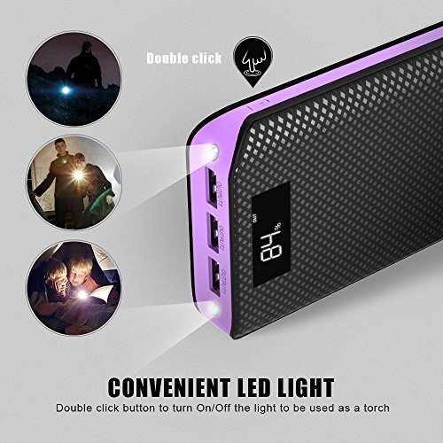 strength Bank X Dragon 20000mAh portable Charger External strength Bank 3 Port USB end result External Battery Charger Pack by using LCD exhibit for Cell telephone iPhone Samsung Tablet ipad and extra Purple External Battery Packs