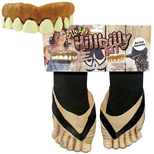 Hillbilly Billy-Bob Teeth and 6-Toed Vinyl Sandals Redneck Halloween (Swamp People Halloween Costume)