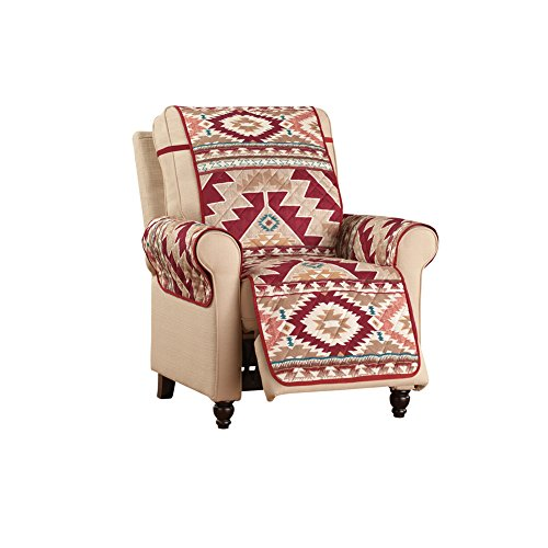 Collections Etc Aztec Southwest Patterned Furniture Cover with Bold Aztec Design and Solid Burgundy Reverse, Recliner