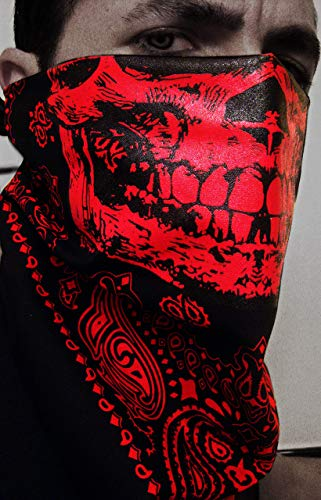 Hell Raiser Red and Black Skull Paisley Face Mask Bandana Cholo -