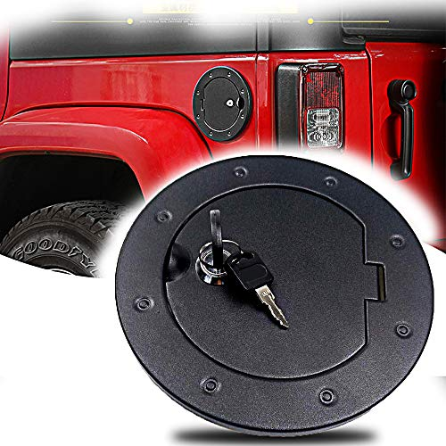 Non fading Black Fastness Gas Cap Fuel Filler Door Cover Moonet Powder Coated Steel Gas Fuel Tank Gas Cap Cover Accessories for 2007-2018 Jeep Wrangler JK /& Unlimited Sport Rubicon Sahara with Lock