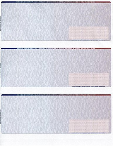 - Business Voucher Checks Stock -Ultimate Security - Heavy Paper 28# - Computer Laser Checks - 3 Checks Per Page, 100 Sheets/300 Checks, Blue/Red Cubed