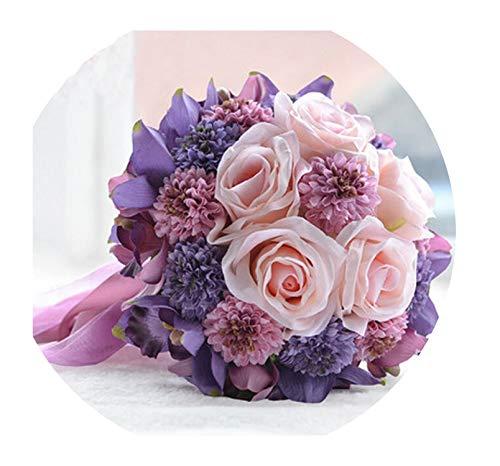 Beautiful Purple Pink Color Bridal Bridesmaid Flower Wedding Bouquet Artificial Flower Rose Bridal Bouquets,Picture -