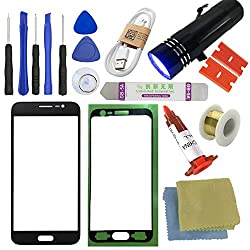 For Samsung Galaxy J3 Screen Replacement, Sunmall Front Outer Lens Glass Screen Replacement Repair Kit For Samsung Galaxy J3 J320f J320p J320m J320y J3109 J320 With Uv Glue Uv Torch (Black)