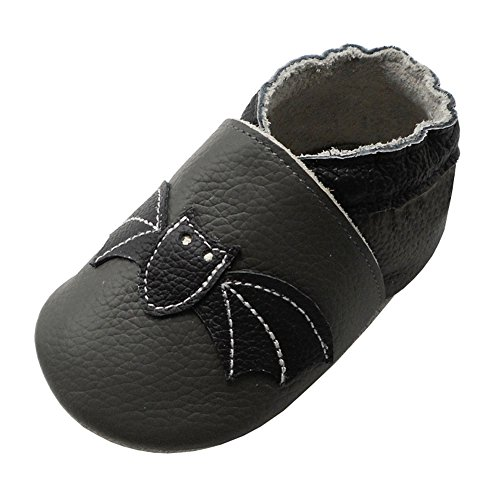 YIHAKIDS Soft Leather Sole Baby Shoes Infant Toddler Boy Girl Moccasins Cartoon Bat Baby Slippers (7-7.5 US/12-18 Mo./5.5in, Dark Gray)