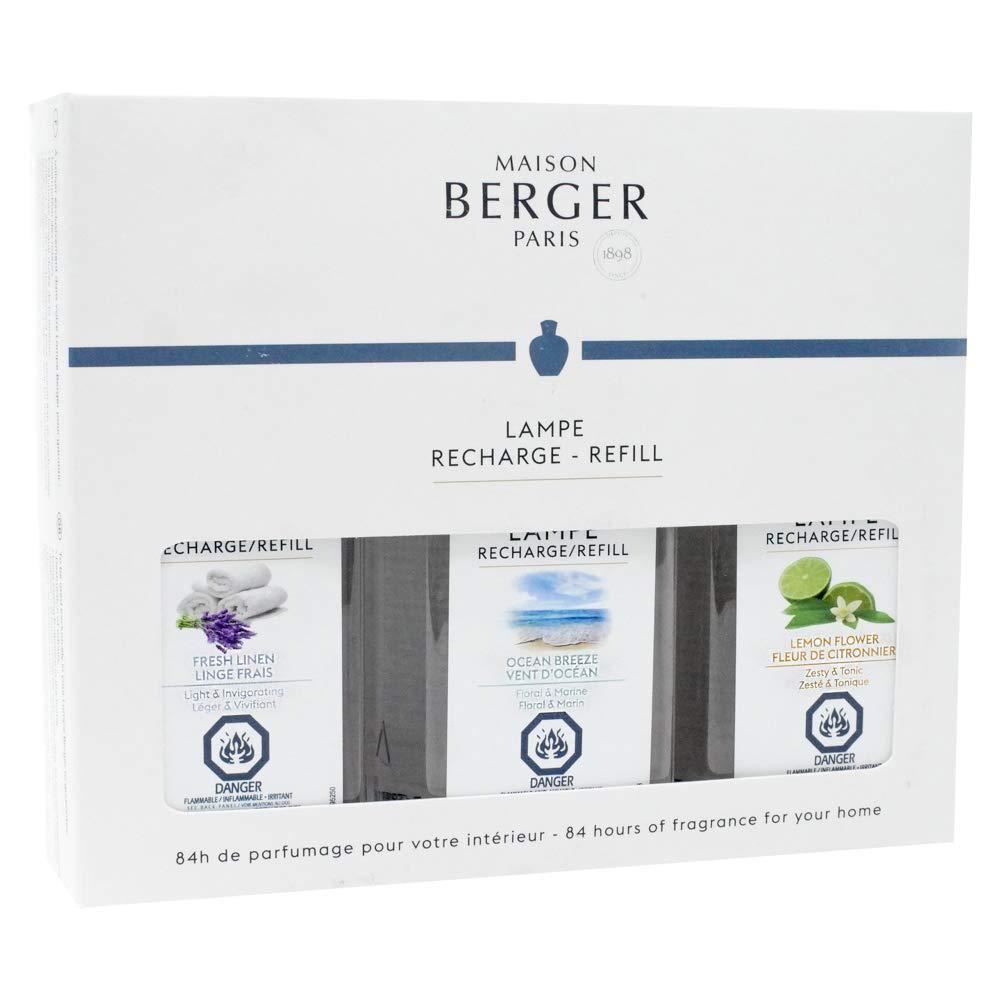Lampe Berger Fragrance Trio Refill for Home Fragrance Oil Diffuser - 3x6.08 Fluid Ounces - 3x180 milliliters (Trio Fresh)