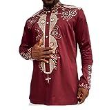 Kankanluck Men's Shirt Africa Print Dashiki Mandarin Collar Wear to Work T-Shirts Red M