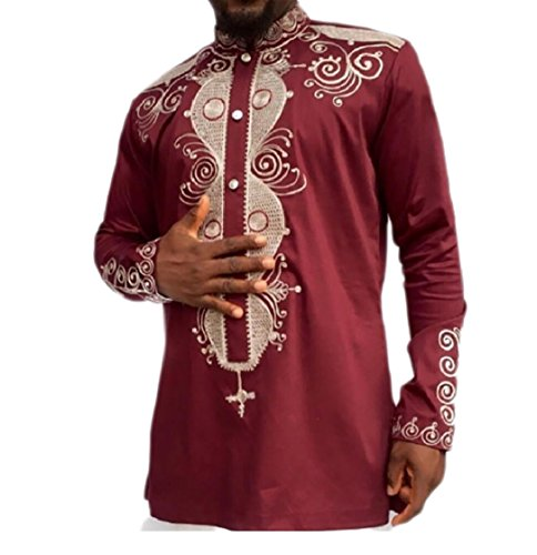 Kankanluck Men's Shirt Africa Print Dashiki Mandarin Collar Wear to Work T-Shirts Red M by Kankanluck