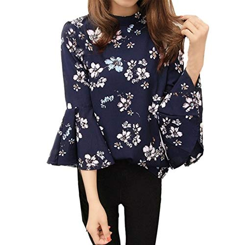 8a4fef694a7df Image Unavailable. Image not available for. Color  XuBa New Print Floral Chiffon  Blouse Flare Sleeve Shirts Ladies O- neck Blusas Fashion Women