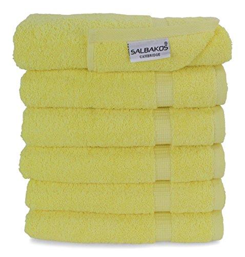 SALBAKOS Luxury Hotel & Spa Turkish Cotton 6-Piece Eco-Friendly Hand Towel Set 16 x 30 Inch, Yellow