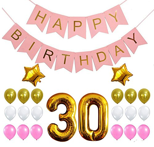 30th PINK BIRTHDAY DECORATIONS BALLOON BANNER