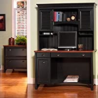 Bush Furniture Stanford 48 Wood Computer Desk with Hutch and File Cabinet in Antique Black and Hansen Cherry