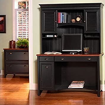 Bush Furniture Stanford 48u0026quot; Wood Computer Desk With Hutch And File  Cabinet In Antique Black