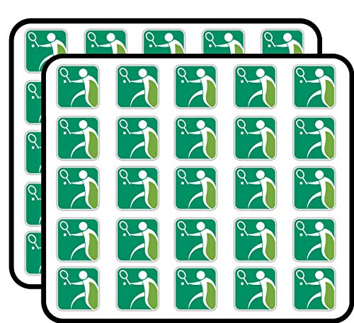 (Tennis Sport Label Art Decor Sticker for Scrapbooking, Calendars, Arts, Kids DIY Crafts, Album, Bullet Journals 50 Pack)