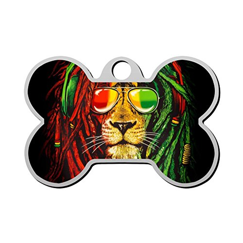 BSARRE Personalized Pet ID Tags for Dogs & Cats Rasta Lion Double Sided Bone Dog Tag