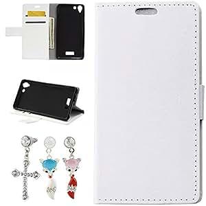 Mobilefashion Funda de PU Cuero Case para Wiko Selfy 4G (Blanco) Con Soporte Plegable y Ranura para tarjeta + 1x Color al azar gratis tapón de polvo
