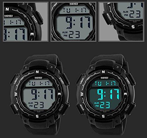 Fanmis Men's Fashion Sports Design Multifunctional Digital Alarm Waterproof Black Wrist Watch