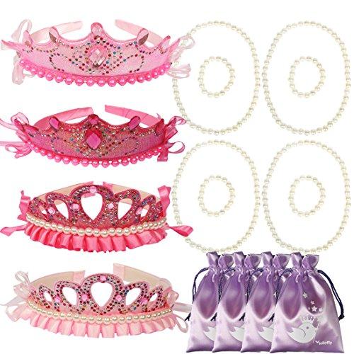 kilofly Princess Party Favor Jewelry Pack, Tiara & Necklace & Bracelet, 4 Sets ()