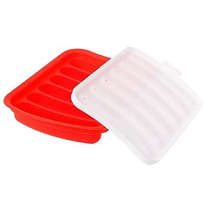 SimpleLife Molde para Hacer Salchichas DIY Molde para Perro Caliente de Silicona 6 Horno de microondas
