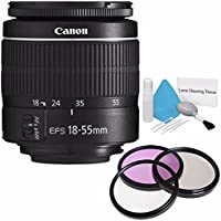 Canon EF-S 18-55mm f/3.5-5.6 III Lens (International Model no Warranty) + 58mm 3 Piece Filter Kit + Deluxe Cleaning Kit 6AVE Bundle 9