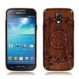 Nextkin Samsung Galaxy S4 mini I9190 Flexible Slim Silicone TPU Skin Gel Soft Protector Cover Case - Full Black Leaf Mandala On Wood