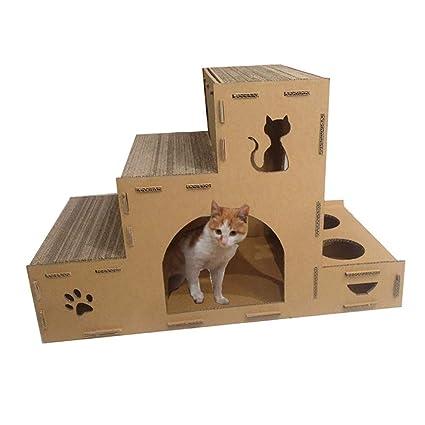 DJLOOKK Cato con Rascador Marco de Escalada de Papel Corrugado para Gatos con Estante para Granos