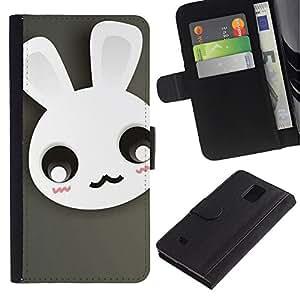 JackGot ( Carino Moustache del coniglio di coniglietto ) Samsung Galaxy Note 4 IV la tarjeta de Crédito Slots PU Funda de cuero Monedero caso cubierta de piel
