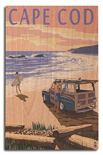 - Lantern Press Cape Cod, Massachusetts - Woody on Beach (10x15 Wood Wall Sign, Wall Decor Ready to Hang)