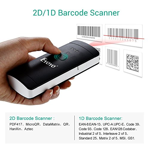 Bluetooth 2D 1D Barcode Scanner, Eyoyo Portable Mini 2.4G Wireless Handheld CCD QR Bar Code Reader for Computer,Tablet, Smartphone Compatible with Windows, Mac, Linux, Android, IOS
