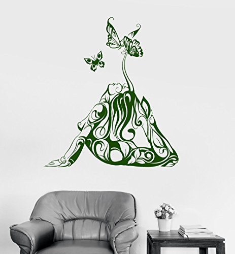BorisMotley Wall Decal Sexy Naked Girl Butterfly Yoga Vinyl Removable Mural Art Decoration Stickers for Home Bedroom Nursery Living Room - Sexy Hippie Naked Girls