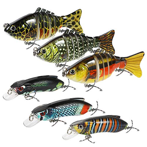 WEWAK 6Pcs Fishing Lures for Bass Trout Multi Jointed Swimbaits Slow Sinking Lifelike Artificial Saltwater Freshwater Hard Bait Fishing Tackle Kits for Catfish Pike Muskie