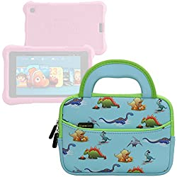 Evecase All-New Fire 7 Kids Edition Tablet Sleeve, Cute Dinosaurs Themed Neoprene Travel Carrying Slim Sleeve Case Bag w/ Dual Handle and Accessory Pocket - Blue w/ Green Trim
