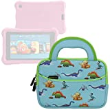 Evecase Fire HD Kids Edition Tablet / Kindle Oasis E-Reader Sleeve, Cute Dinosaurs Themed Neoprene Travel Carrying Slim Sleeve Case Bag w/ Dual Handle and Accessory Pocket - Blue w/ Green Trim
