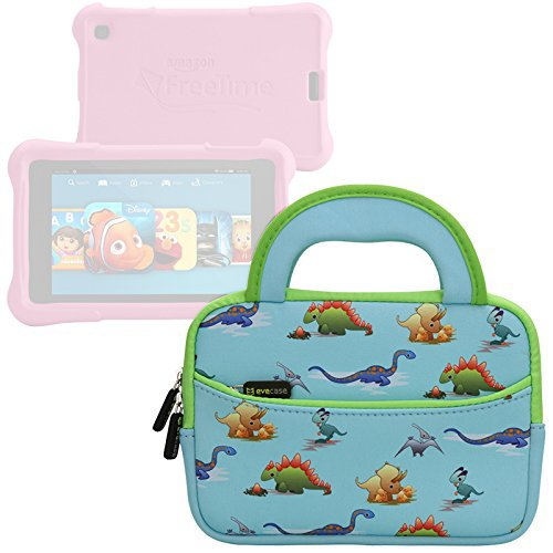 Evecase-All-New-Fire-7-Kids-Edition-Tablet-Sleeve-Cute-Dinosaurs-Themed-Neoprene-Travel-Carrying-Slim-Sleeve-Case-Bag-w-Dual-Handle-and-Accessory-Pocket---Blue-w-Green-Trim