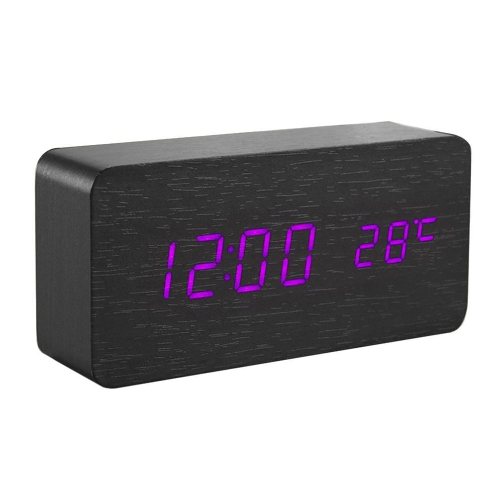 Childplaymate Wood Sound Control Alarm Clock,Multi-function USB/AAA Digital LED Alarm Clock Calendar Temperature Desk Clock(Purple)