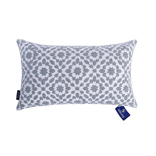 Aitliving Throw Pillow Covers Decorative Lumbar Pillow Cover Silver 12 X 20 inch Mina Embroidered Trellis Cotton Canvas Bolster Pillowcase Grey 1 PC (Lumbar Pillow Cover)
