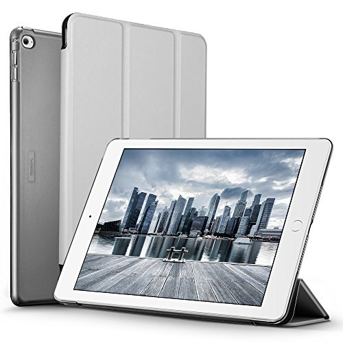ESR Yippee Smart Case for The iPad Air 2, Smart Case Cover [Synthetic Leather] Translucent Frosted Back Magnetic Cover with Auto Sleep/Wake Function [Light Weight] (Silver Grey)