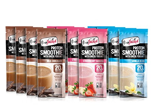 FlapJacked Protein Smoothie Mix With Greek Yogurt, Variety Pack, 12 Count