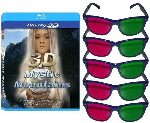 5 Premium Plastic Green/Magenta 3D Glasses with Bonus 3D Film