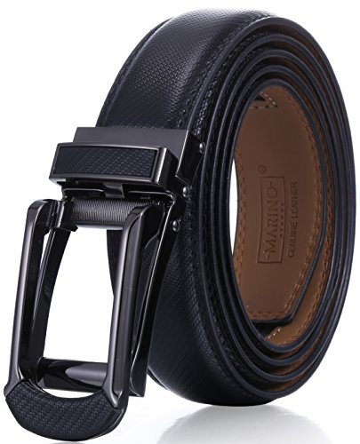 Buckle Belt Genuine Black (Marino Men's Genuine Leather Ratchet Dress Belt with Open Linxx Buckle, Enclosed in an Elegant Gift Box - Black - Style 156 - Custom: Up to 44