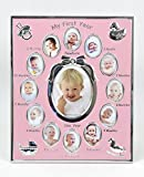 Concepts''My First year'' Baby Pink Picture Frame with Bow And 12 Oval Picture Slots/12 Month Pink