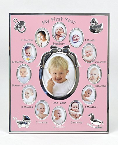 Concepts''My First year'' Baby Pink Picture Frame with Bow And 12 Oval Picture Slots/12 Month Pink by Concepts
