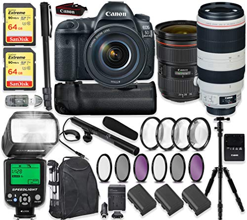 Canon EOS 5D Mark IV DSLR Camera with Canon 24-70mm f/2.8L II Lens & 100-400mm IS II Lens + 2x 64GB Sandisk Extreme Memory + Auto TTL Flash (Guide # 58/190 ft) + 60″ Portable Tripod + Professional Kit