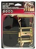 Erickson 01330 Black 1.5'' x 15' Medium Duty Ratcheting Tie-Down Strap with double J-hook, 4000 lb Load Capacity