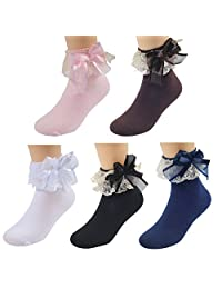 WEILAI SOCKS Girls Cute Princess Style Lace Top Dress Ankle Socks