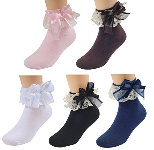 WEILAI SOCKS Girls Kids 5 Pack Fashion Cute Princess Lace No Seam Top Dress Crew Cotton Socks (L, Color 1)
