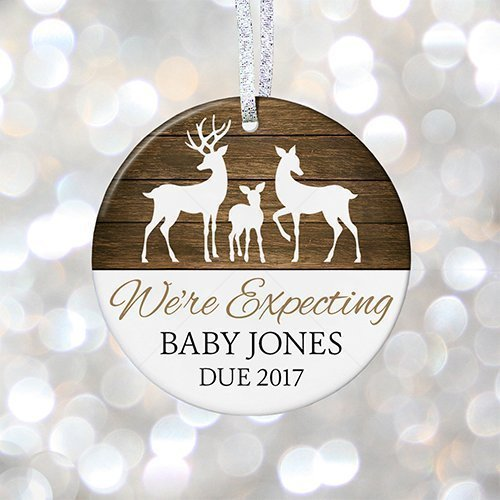 Adoption Birth Announcements - Personalized Pregnancy Reveal Christmas Ornament, Rustic Baby Shower Gift Birth Announcement, Adoption Gift - 3