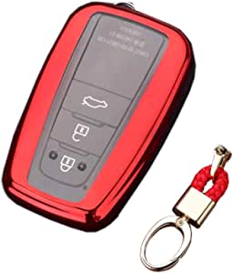 Royalfox(TM) 2/3/4 Buttons Soft TPU Smart keyless Remote Key Fob case Cover Shell Keychain for 2018 2019 2020 Toyota Camry RAV4 Avalon C-HR Prius Corolla HYQ14FBC (red)