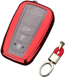 Royalfox(TM) 2/3/4 Buttons Soft TPU Smart keyless Remote Key Fob case Cover Shell Keychain for 2018 2019 2020 Toyota Camry RAV4 Avalon C-HR Prius Corolla HYQ14FBC (red)
