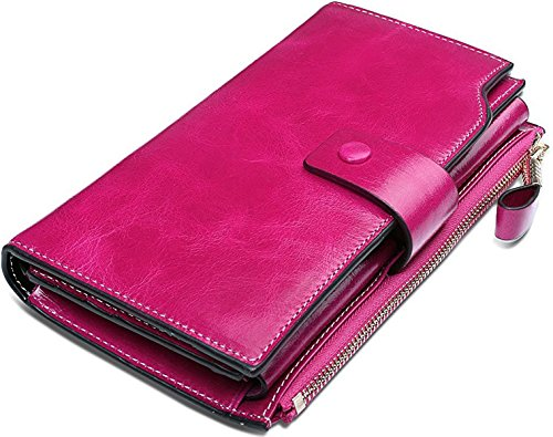 Leather Checkbook Organizer (YALUXE Women's Wax Genuine Leather RFID Blocking Large Capacity Luxury Clutch Wallet Card Holder Organizer Ladies Purse Wallets for women Pink)